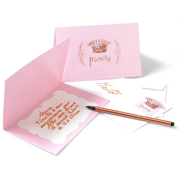 Cartes D'Invitation Princesse - Rose x 6 - 3957-05