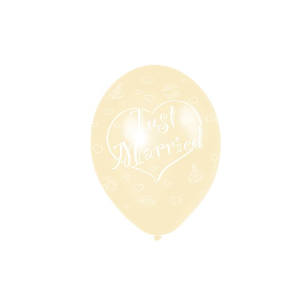 6 Ballons (27,5Cm) « Just Married » - Ivoire - 991739