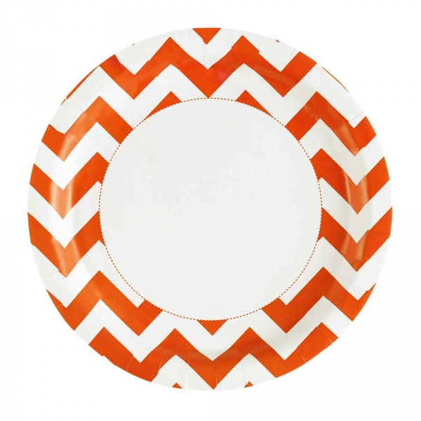 Assiettes - Chevrons - Orange x 8 - 999496