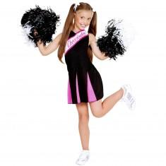 Filles Enfants Enfant Pom-Pom Girl Noir//Rose Fantaisie Robe Costume Tenue 2-3 Ans