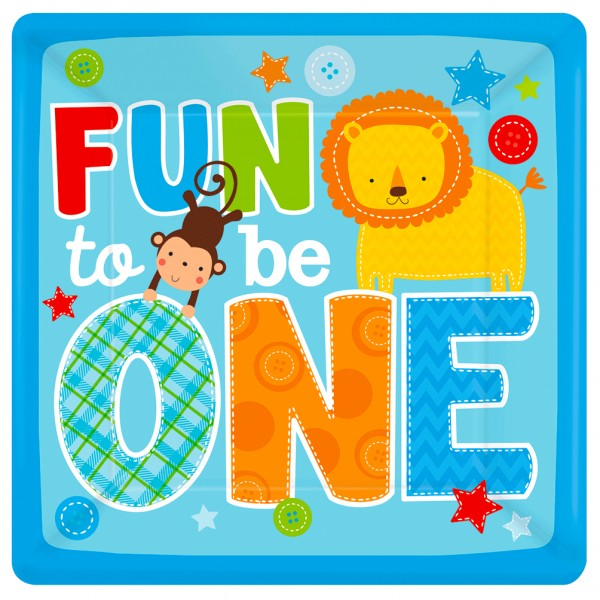 8 Assiettes carrées : Fun To Be One - 591423