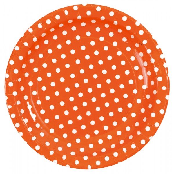 1 Lot de 10 Assiettes Orange à Pois  - 3542-12