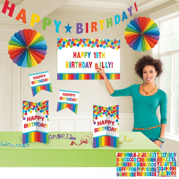 Kit décoration de table Anniversaire - Rainbow - 241144