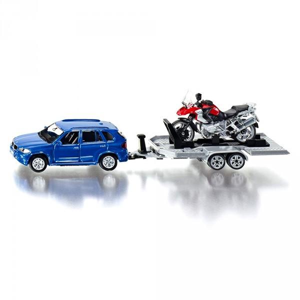 Moto A Pousser Jouet modèle réduit en métal : voiture avec remorque et moto - jeux et