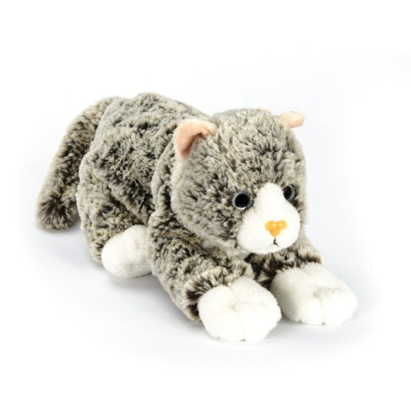 Peluche Chaton 22 cm couché : Gris chiné - Softfriends-SA4699-2