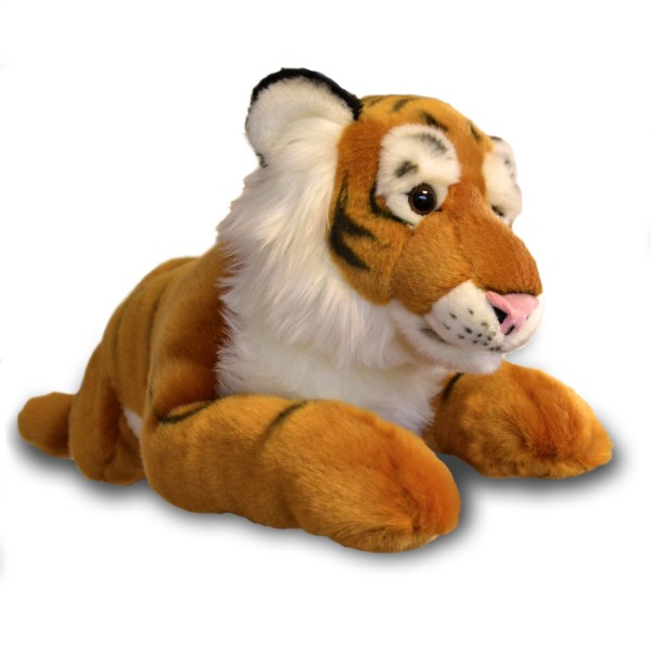 Peluche tigre allongé 60 cm : Marron - SoftFriends-SFT955021-1