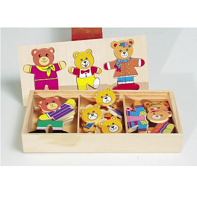 puzzle 18 pi ces en bois famille ours habiller puzzle toys pure rue des puzzles. Black Bedroom Furniture Sets. Home Design Ideas
