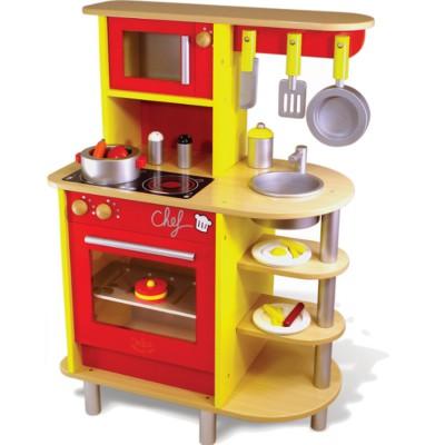 cuisini re en bois la cuisine du chef jeux et jouets vilac avenue des jeux. Black Bedroom Furniture Sets. Home Design Ideas